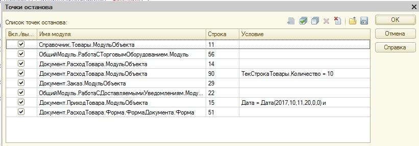 Список точек останова