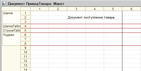 Области в макете табличного документа