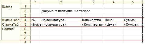Макет табличного документа с параметрами