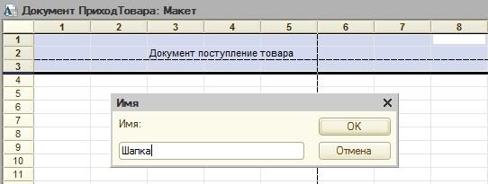 Задаем имя области макета табличного документа
