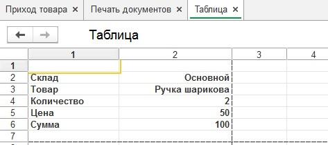 Вывод табличного документа при помощи расшифровки