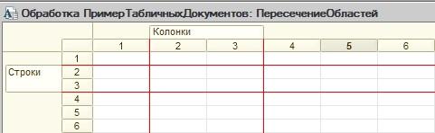 Пересечение областей табличного документа 1С